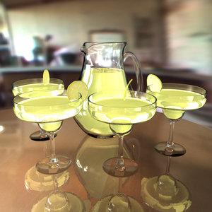 3ds max glass pitcher margarita drink