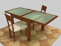 cherry wood table with frosted glass top.