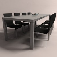 03 vitra chair table 3d model