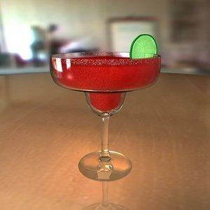 3d model of margarita glass drink