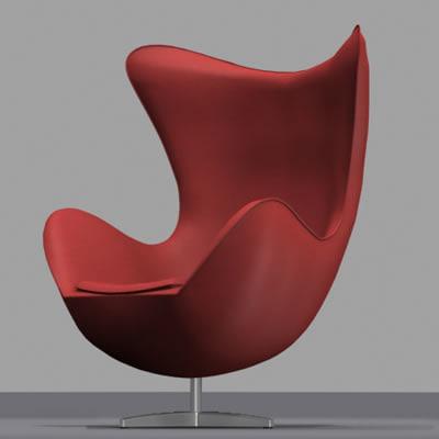 egg arne design chair 3d model