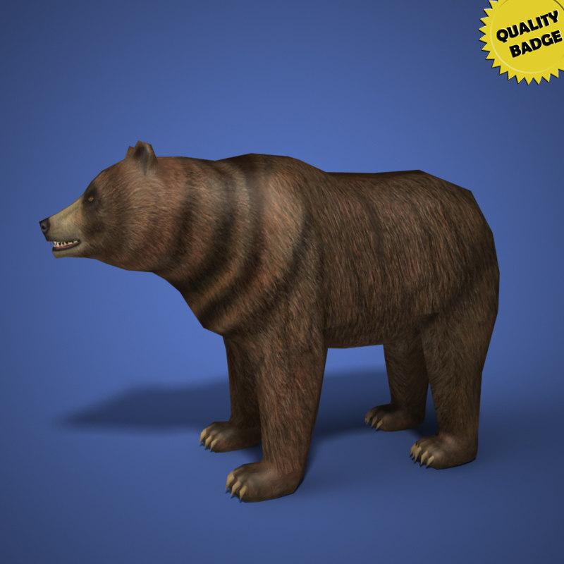 real time bear modeled 3d model