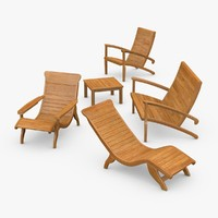 Wooden Deck Furniture Set 01