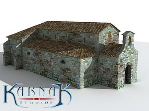 medieval church 3d obj