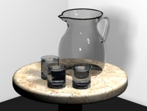 3d glass pitcher tumblers table cloth model