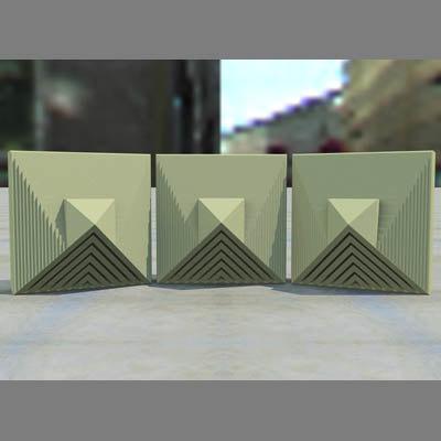 geometric block tile 3d model
