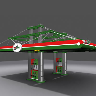 3d model gas station canopy
