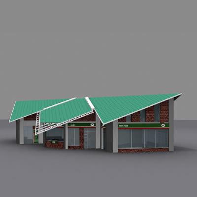 3d gas station service building