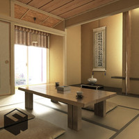 japanese architecture j-interior room furniture 3d model