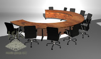3d confrence table chairs model
