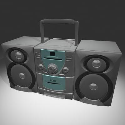 mini stereo radio 3d max