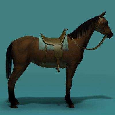 brown horse saddle 3d lwo