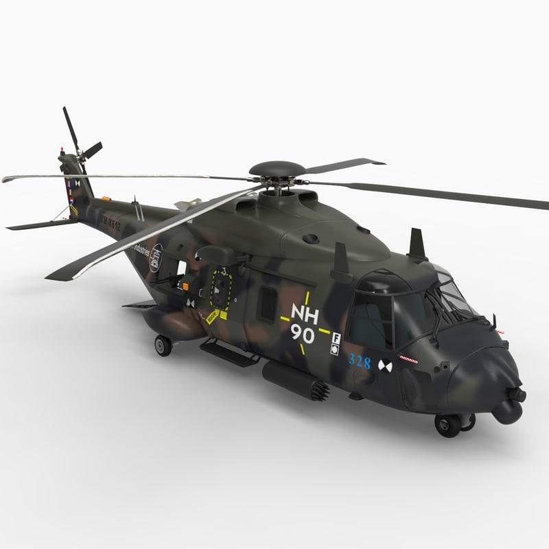 nh-90 transport helicopter 3d model