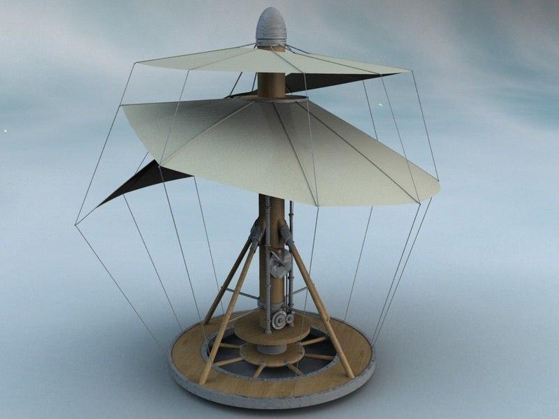 3d model leonardo da aero spiral
