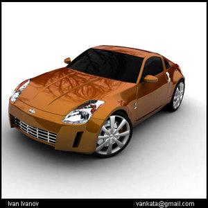 nissan 350z car wheels 3d model