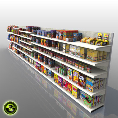 store shelves products 3d model