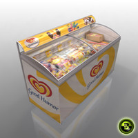 3d model gas station ice cream