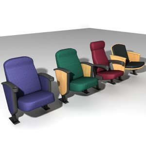 court movie theater chairs 3d model