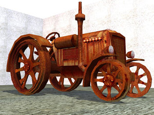 abandoned case tractor 3d model