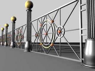 3d model iron fence