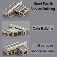 cafe building 3d model