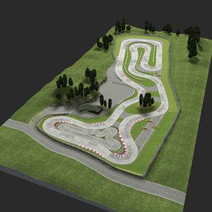 karting circuit track 3d model