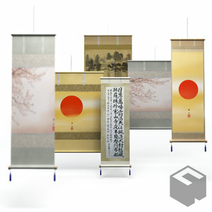 3ds max japanese architecture kakejiku