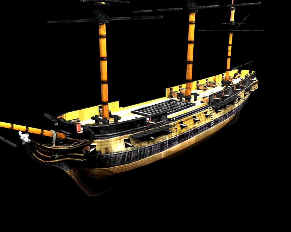 28 gun frigate hms surprise 3d model