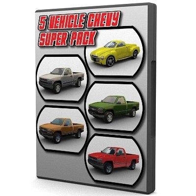 5 chevy vehicles silverado z71 3d model