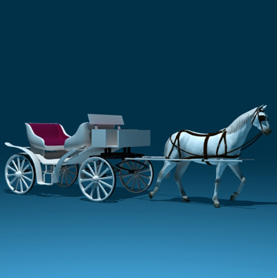 3d realistic horse carriage model