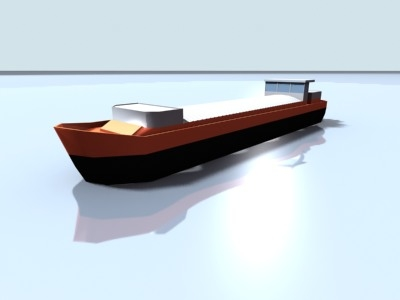 inland cargo boat 3d max