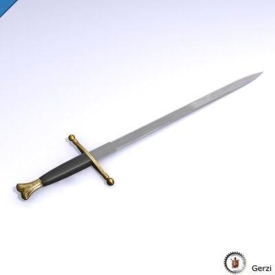 3d sword weapon knight model