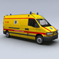 ambulance renault master van 3d model