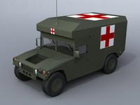 military ambulance hummer 3d model