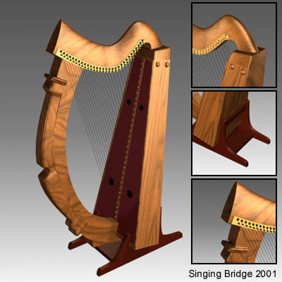 free celtic harp 3d model