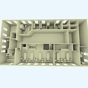 hospital bed interior 3d model