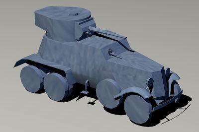 free ba-6 armored car 3d model
