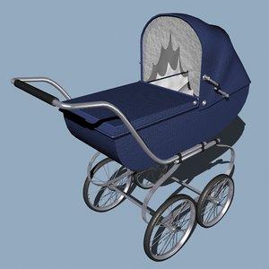 baby pram 3d model