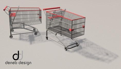 supermarket shopping trolley 3d model