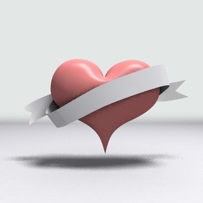 cartoon heart ribbon 3d model