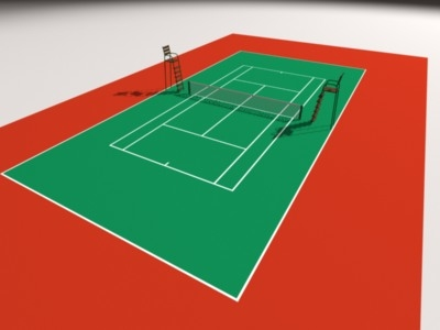 basic tennis court 3d model