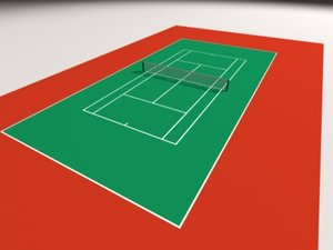 3d max tennis court simple