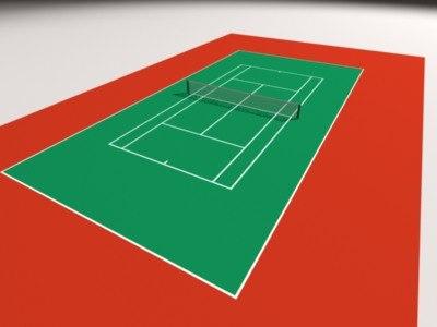 3d max tennis court simple