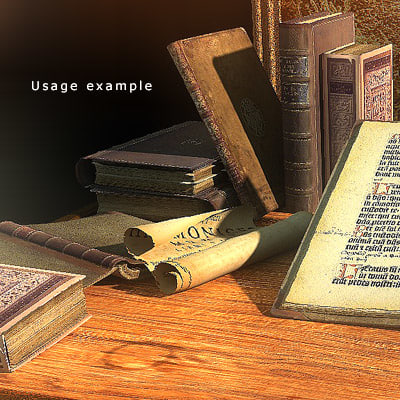 medieval books framed pictures 3d model
