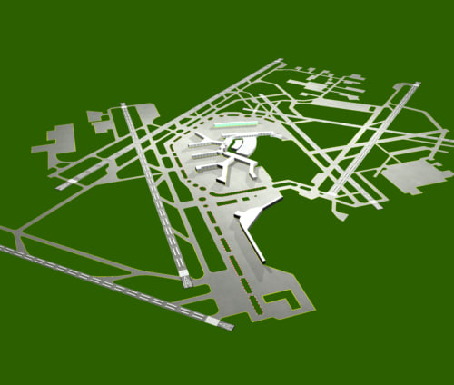 chicago o hare airport runway 3d model