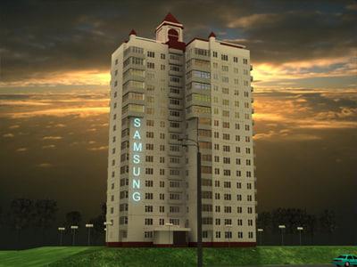 block flats city building 3ds