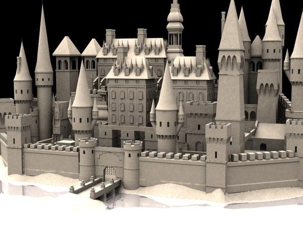 castle medieval buildings fantasy 3d model
