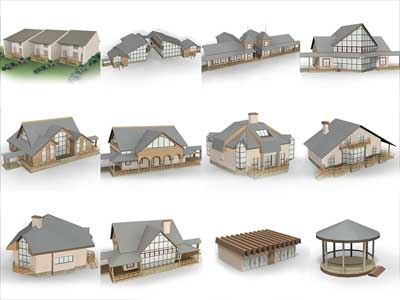 3d set small houses
