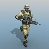 ranger soldier human 3d model