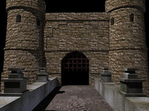 entrance castle bridge 3d model